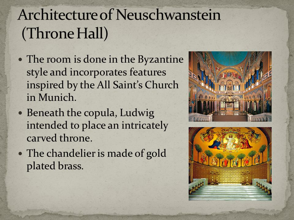 The room is done in the Byzantine style and incorporates features inspired by the All Saint's Church in Munich.