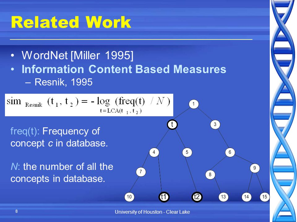 University of Houston - Clear Lake 8 Related Work WordNet [Miller 1995] Information Content Based Measures –Resnik, 1995 freq(t): Frequency of concept c in database.