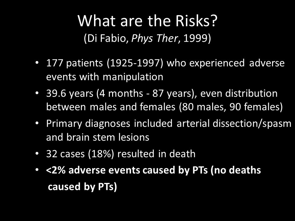 What are the Risks? (Di Fabio, Phys Ther, 1999) 177 patients (1925-1997) who experienced adverse events with manipulation 39.6 years (4 months - 87 ye