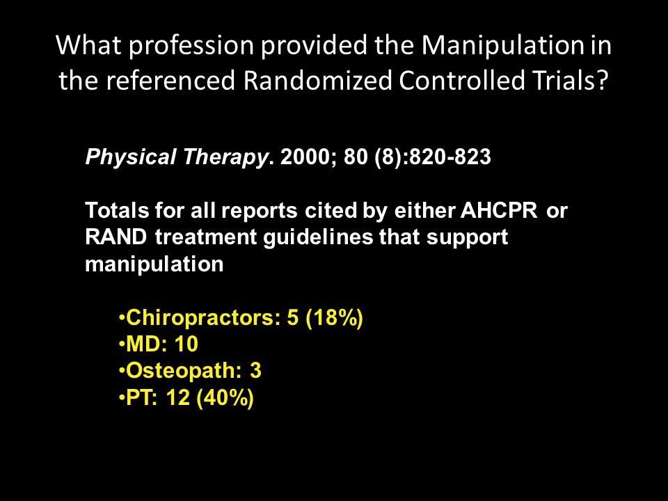 What profession provided the Manipulation in the referenced Randomized Controlled Trials? Physical Therapy. 2000; 80 (8):820-823 Totals for all report