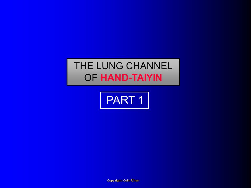 THE LUNG CHANNEL OF HAND-TAIYIN PART 1 Copy right: Colin Chan