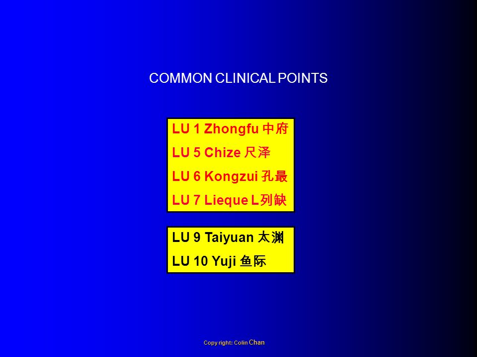 LU 1 Zhongfu 中府 LU 5 Chize 尺泽 LU 6 Kongzui 孔最 LU 7 Lieque L 列缺 LU 9 Taiyuan 太渊 LU 10 Yuji 鱼际 COMMON CLINICAL POINTS Copy right: Colin Chan