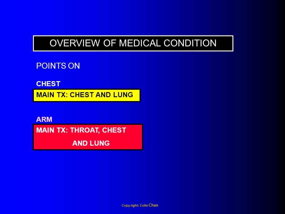 OVERVIEW OF MEDICAL CONDITION CHEST MAIN TX: CHEST AND LUNG ARM MAIN TX: THROAT, CHEST AND LUNG POINTS ON Copy right: Colin Chan