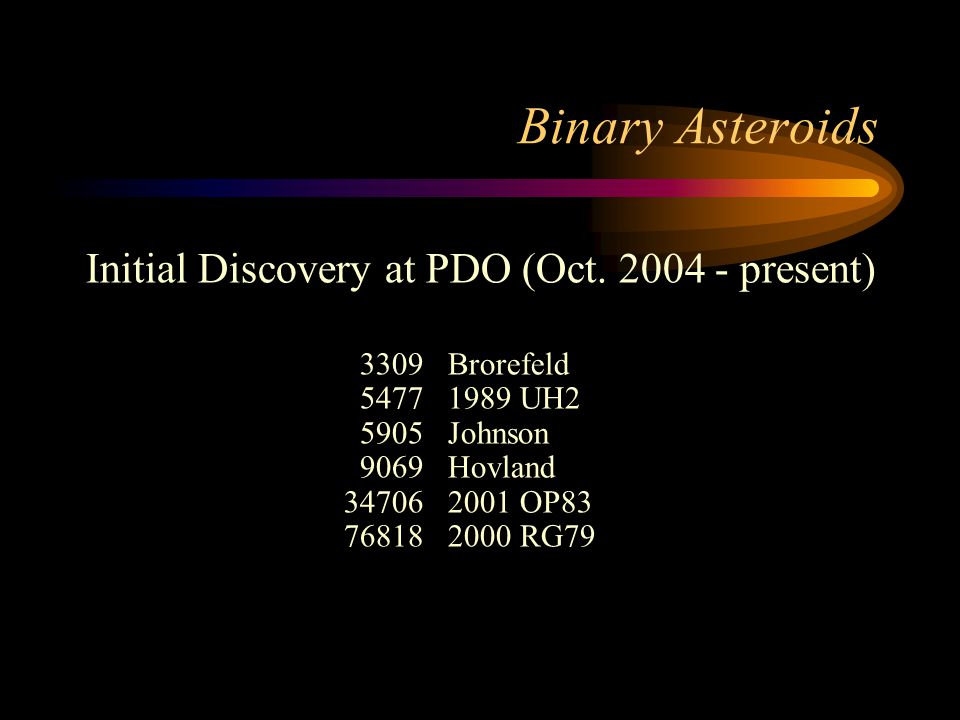 Binary Asteroids Initial Discovery at PDO (Oct.