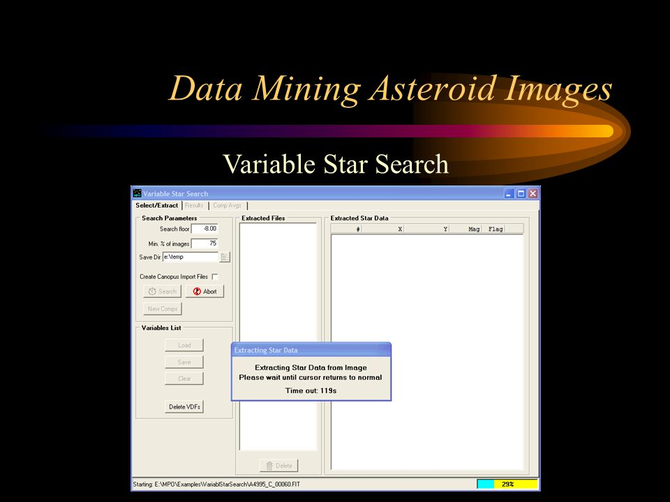 Data Mining Asteroid Images Variable Star Search