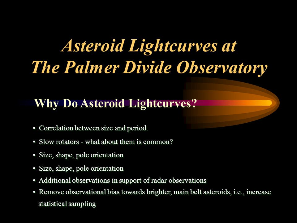 Asteroid Lightcurves at The Palmer Divide Observatory Correlation between size and period.
