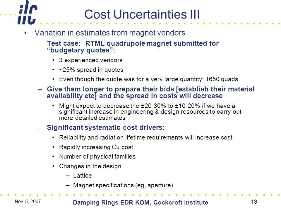 Nov. 5, 2007 Damping Rings EDR KOM, Cockcroft Institute 13 Cost Uncertainties III Variation in estimates from magnet vendors –Test case: RTML quadrupo