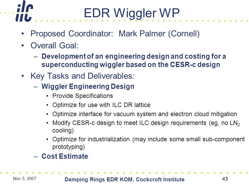Nov. 5, 2007 Damping Rings EDR KOM, Cockcroft Institute 43 EDR Wiggler WP Proposed Coordinator: Mark Palmer (Cornell) Overall Goal: –Development of an