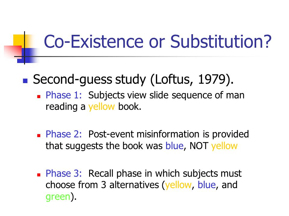 3. Substitution Hypothesis Original memory is transformed or replaced by post-event information by a destructive updating mechanism.