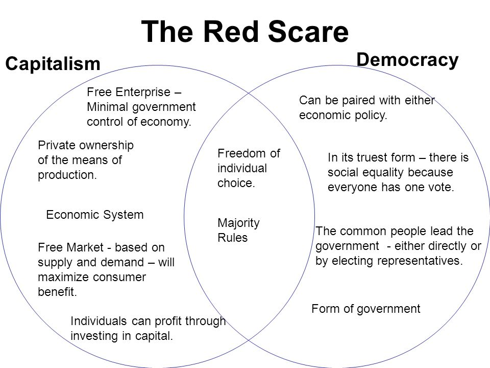 The Red Scare Form of government In its truest form – there is social equality because everyone has one vote. The common people lead the government -