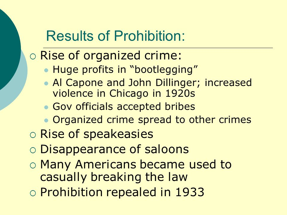 Results of Prohibition:  Rise of organized crime: Huge profits in bootlegging Al Capone and John Dillinger; increased violence in Chicago in 1920s Gov officials accepted bribes Organized crime spread to other crimes  Rise of speakeasies  Disappearance of saloons  Many Americans became used to casually breaking the law  Prohibition repealed in 1933