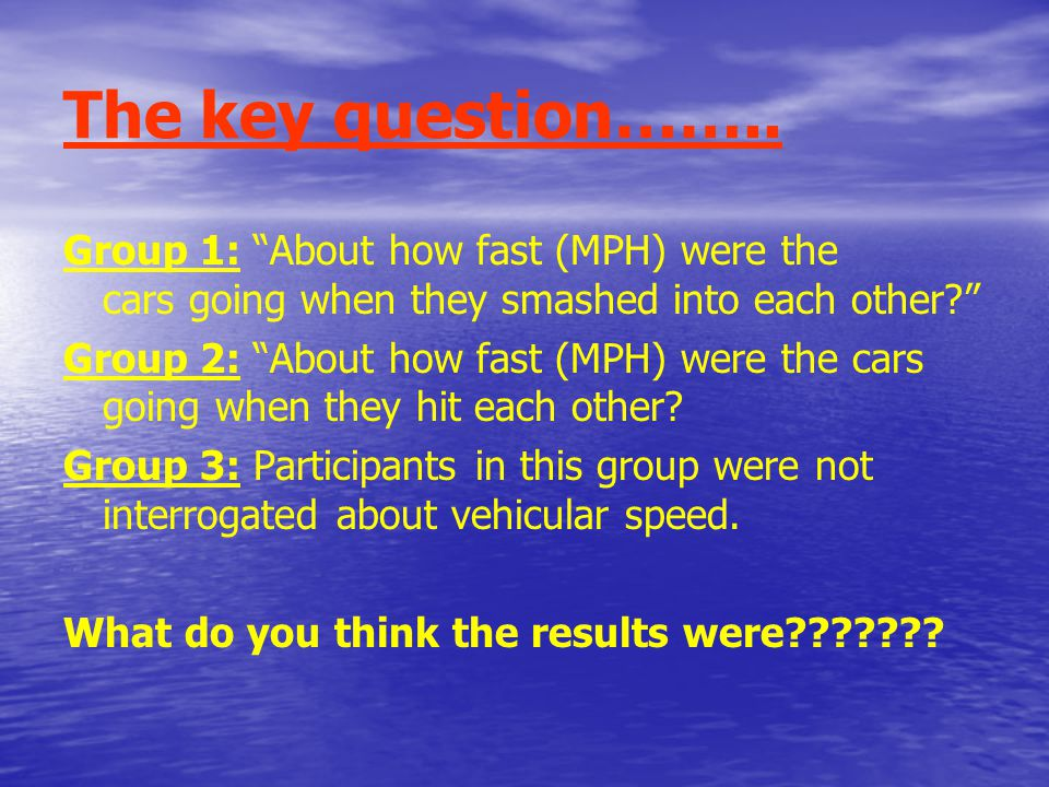 The key question……..