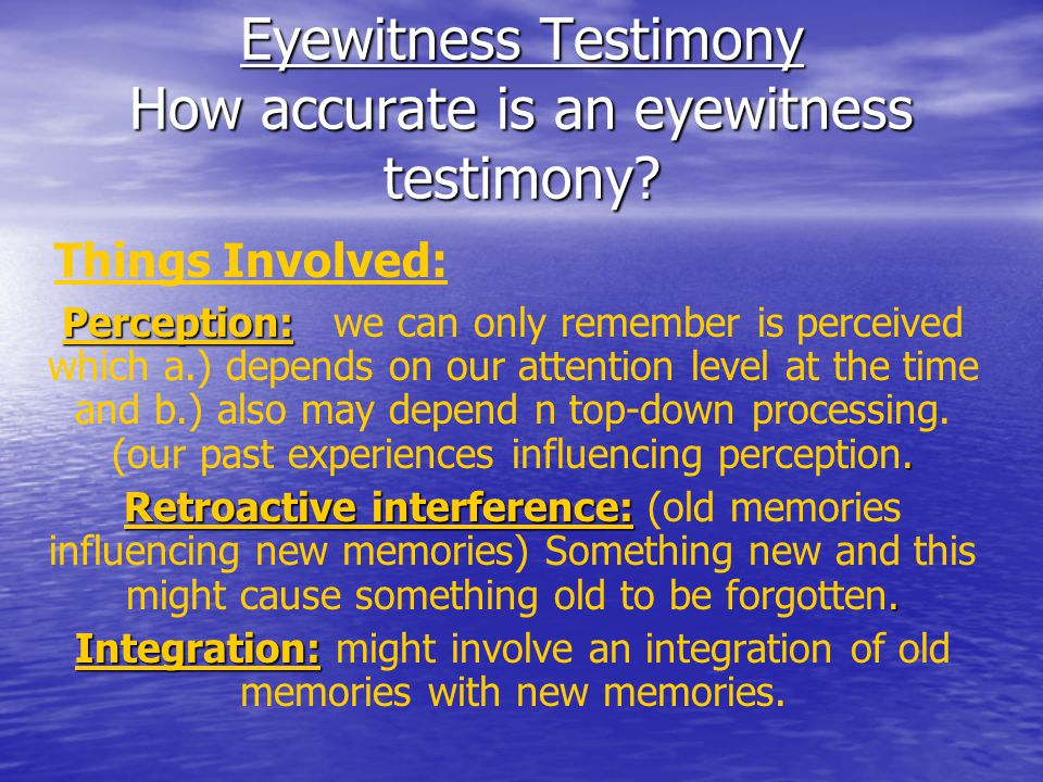 Easterbrook Hypothesis Easterbrook (1959) Easterbrook (1959) –Narrowing of attention during emotional events Does this remind you of anything we mentioned during earlier class on classical conditioning.