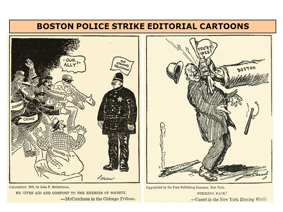 BOSTON POLICE STRIKE EDITORIAL CARTOONS