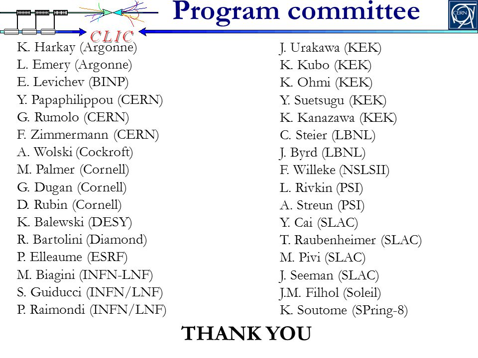 Program committee THANK YOU K. Harkay (Argonne) L.