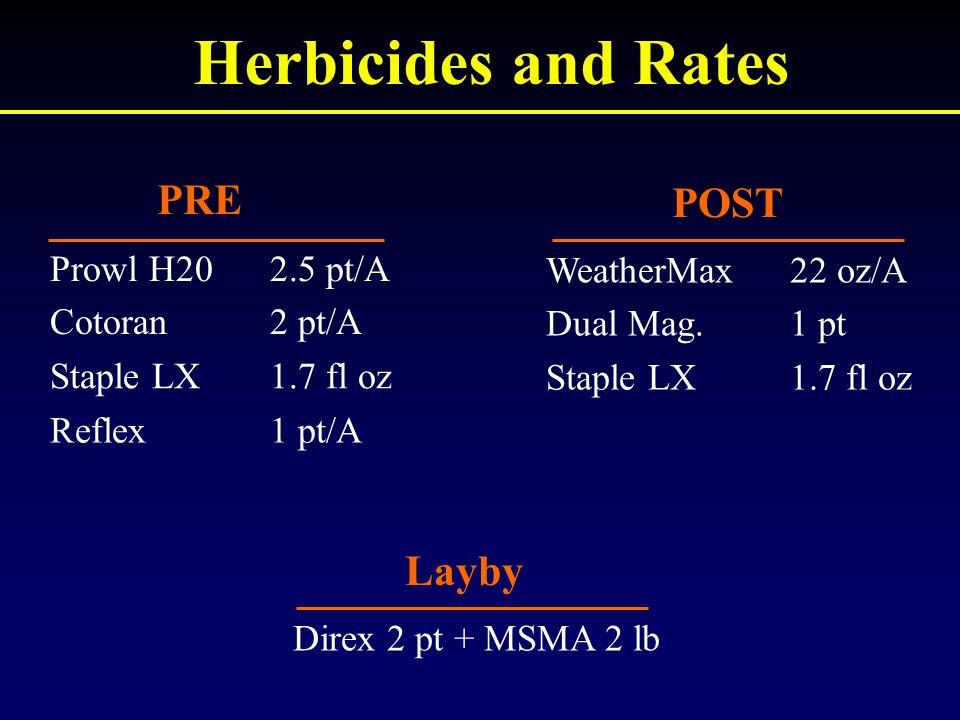 Herbicides and Rates 2.5 pt/AProwl H20 2 pt/ACotoran 1.7 fl ozStaple LX 1 pt/AReflex 22 oz/AWeatherMax 1 ptDual Mag. 1.7 fl ozStaple LX PRE POST Layby