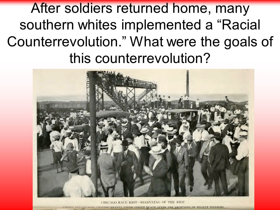 After soldiers returned home, many southern whites implemented a Racial Counterrevolution. What were the goals of this counterrevolution