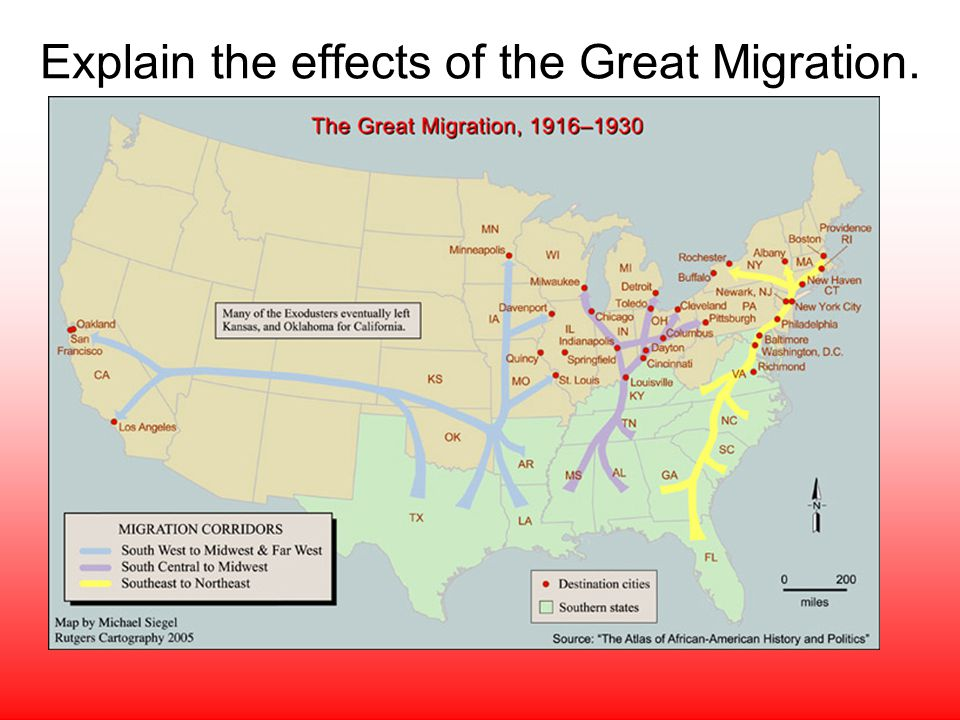 Explain the effects of the Great Migration.