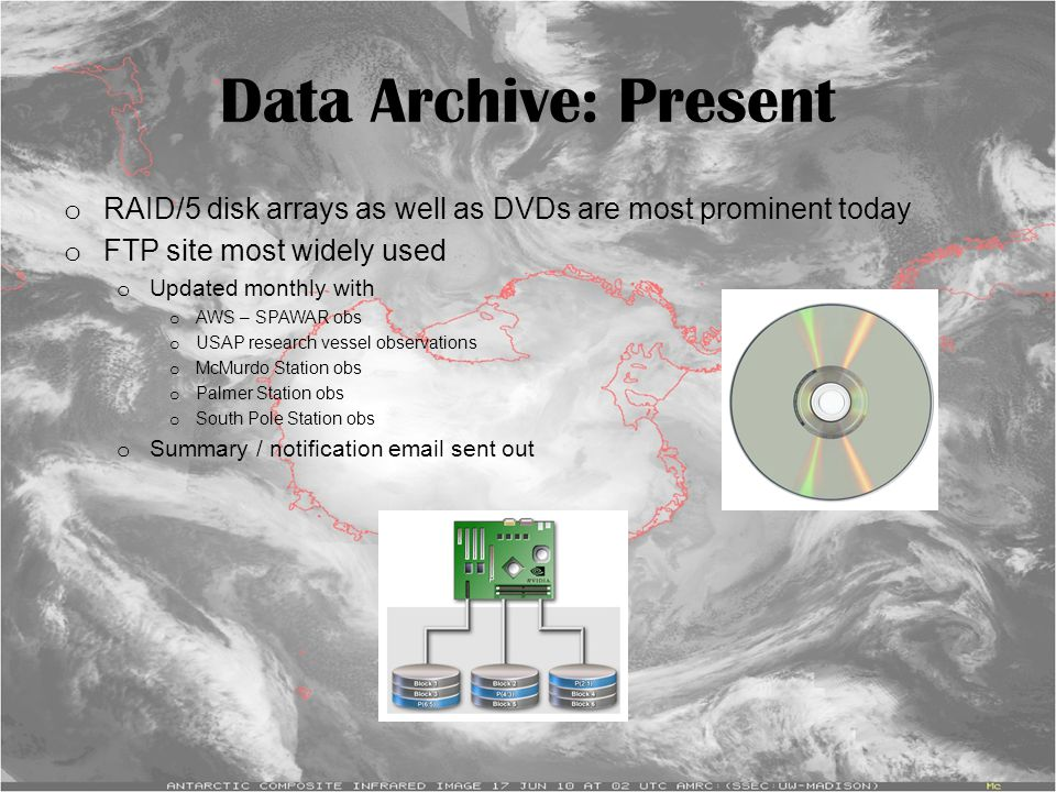 Data Archive: Present o RAID/5 disk arrays as well as DVDs are most prominent today o FTP site most widely used o Updated monthly with o AWS – SPAWAR