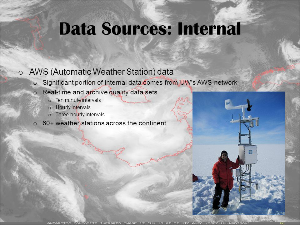 Data Sources: Internal o AWS (Automatic Weather Station) data o Significant portion of internal data comes from UW's AWS network o Real-time and archi