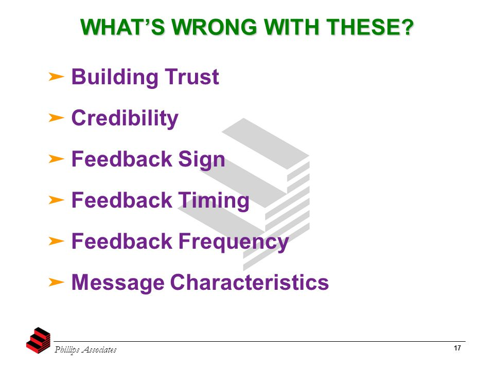 Phillips Associates 17 WHAT'S WRONG WITH THESE? ➤ Building Trust ➤ Credibility ➤ Feedback Sign ➤ Feedback Timing ➤ Feedback Frequency ➤ Message Charac