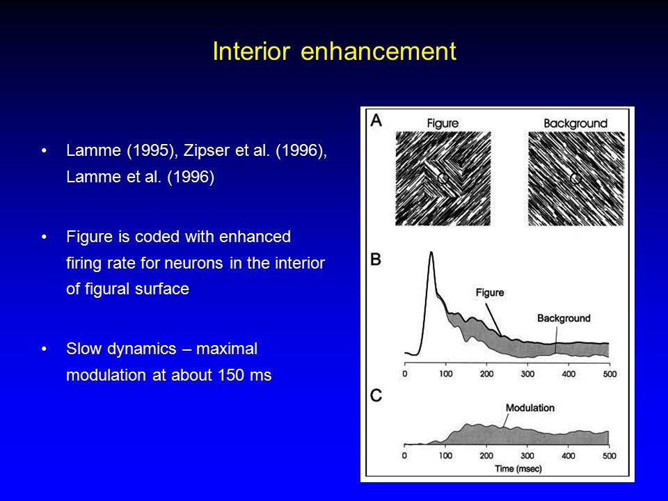 Interior enhancement Lamme (1995), Zipser et al. (1996), Lamme et al.