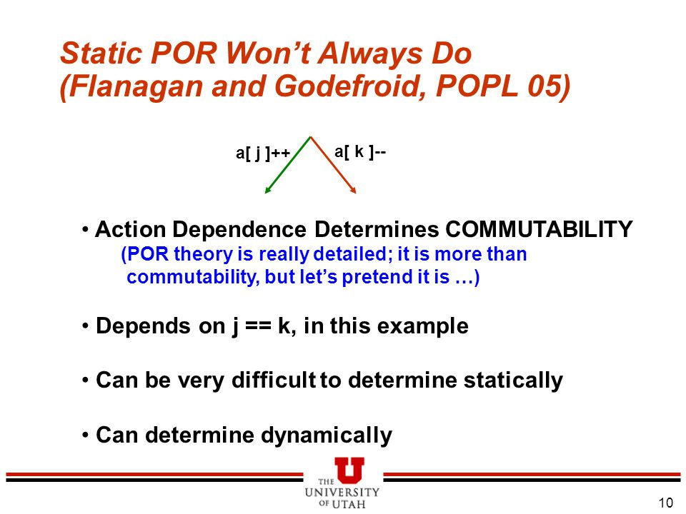 11 Similar Situation Arises with Wildcards… 5/3/2015 l Dependencies may not be fully known, JUST by looking at enabled actions l So Conservative Assumptions to be made (as in Urgent Algorithm) l If not, Dependencies may be Overlooked l The same problem exists with other dynamic situations – e.g.