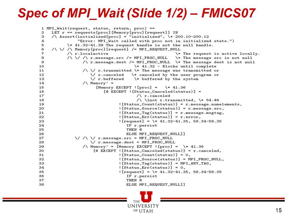15 Spec of MPI_Wait (Slide 1/2) – FMICS07
