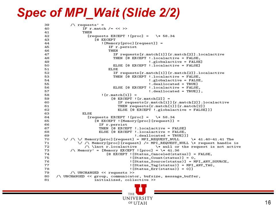 16 Spec of MPI_Wait (Slide 2/2)