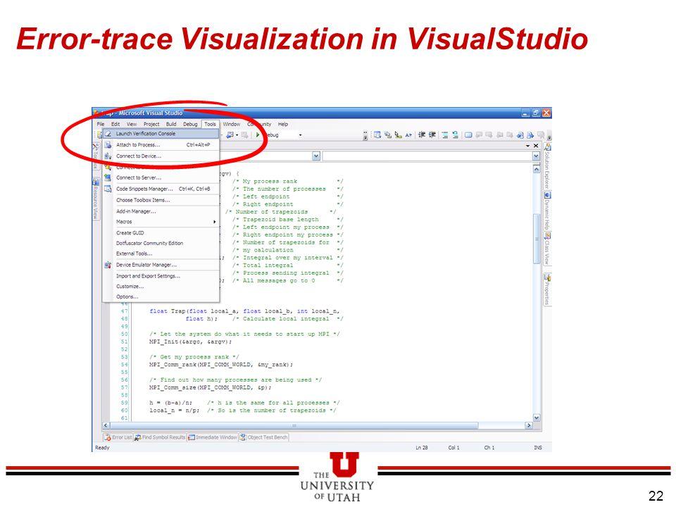 22 Error-trace Visualization in VisualStudio