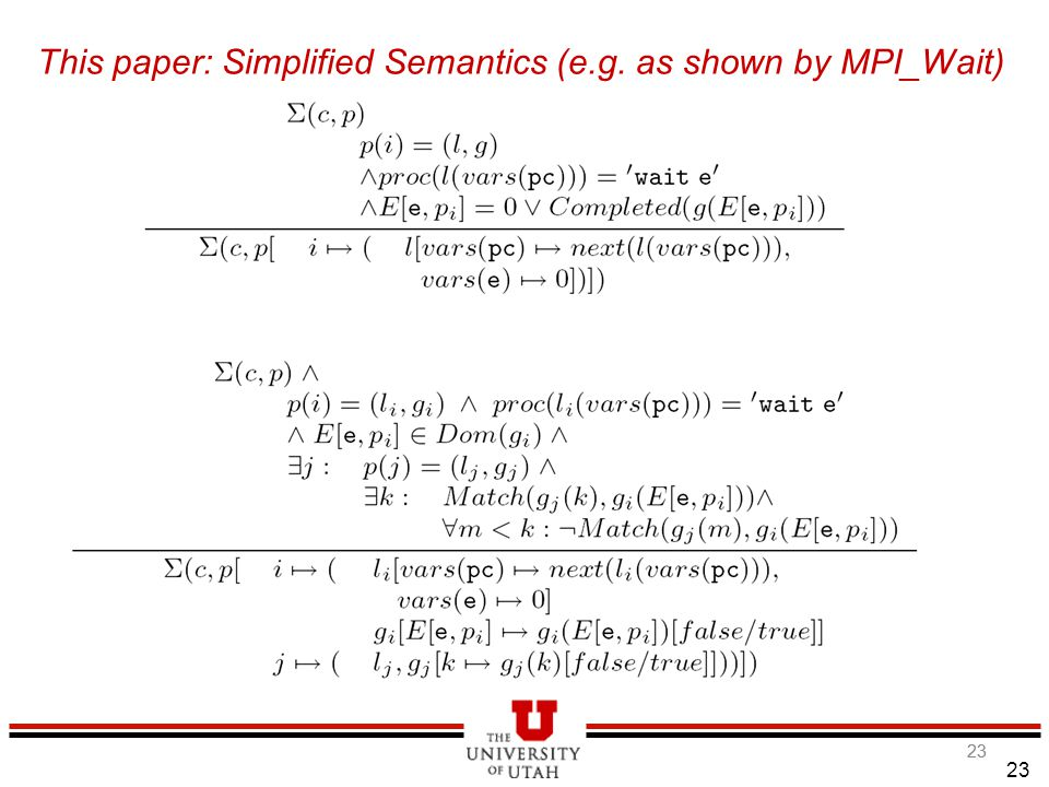 23 This paper: Simplified Semantics (e.g. as shown by MPI_Wait) 5/3/2015 23