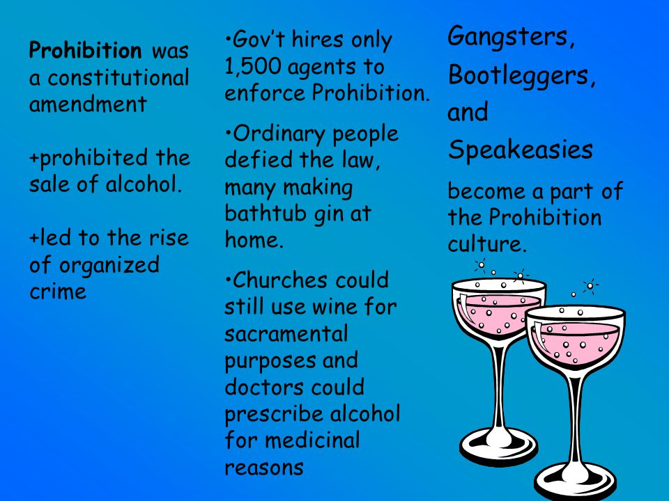 18TH AMENDMENT Prohibits the manufacture, transport and sale of liquor after January 16, 1920. The Volstead Act was enacted by Congress to ensure the