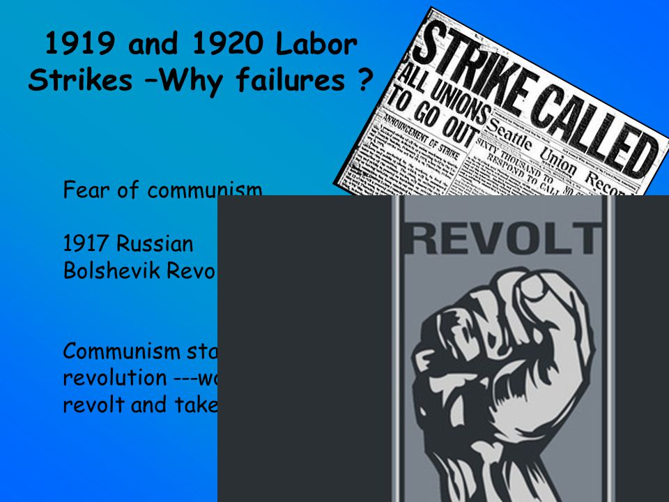 1919 and 1920 Labor Strikes –Why failures .