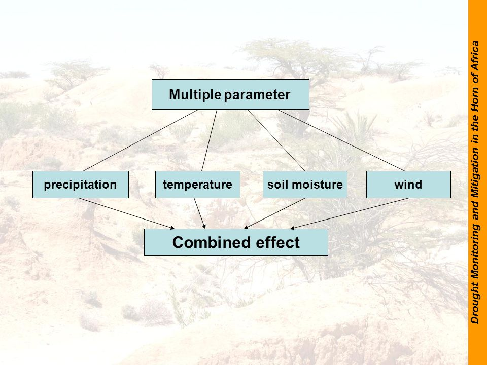 Drought Monitoring and Mitigation in the Horn of Africa Multiple parameter precipitationtemperaturesoil moisturewind Combined effect