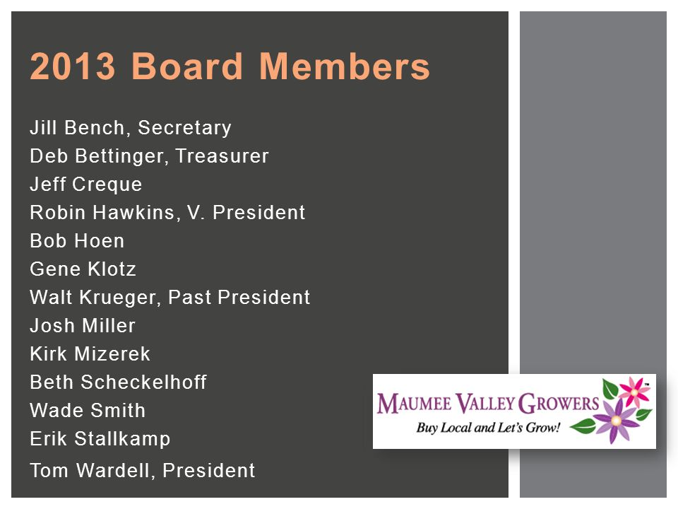 2013 Board Members Jill Bench, Secretary Deb Bettinger, Treasurer Jeff Creque Robin Hawkins, V.