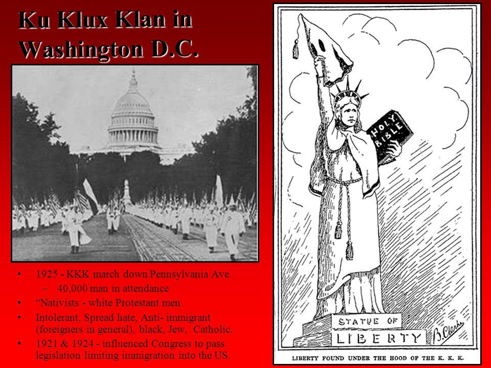 Ku Klux Klan in Washington D.C. 1925 - KKK march down Pennsylvania Ave.