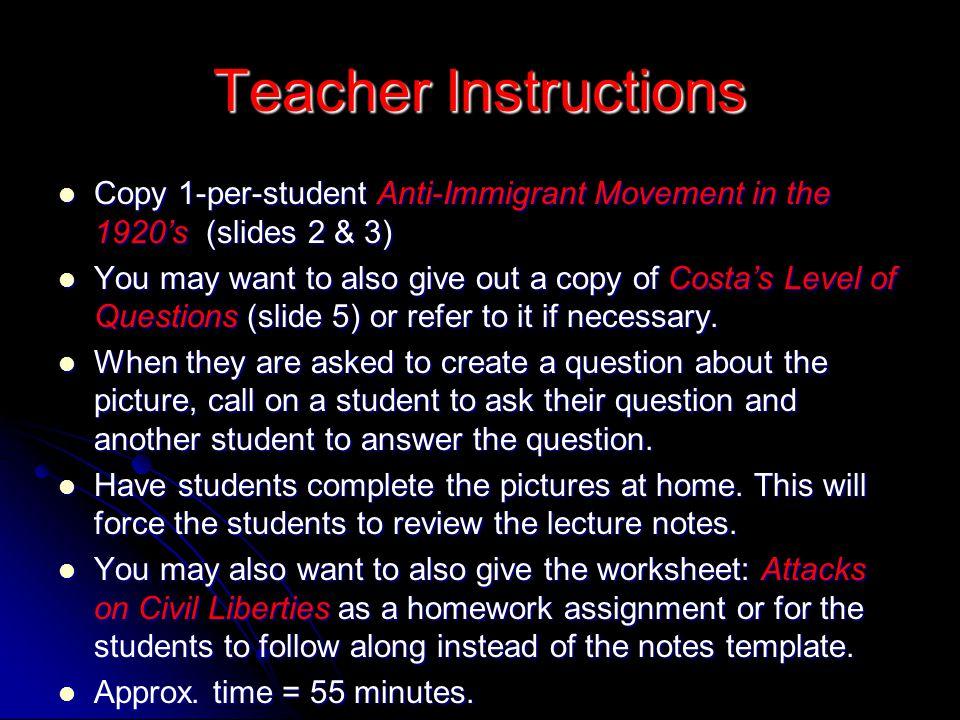 Teacher Instructions Copy 1-per-student Anti-Immigrant Movement in the 1920's (slides 2 & 3) Copy 1-per-student Anti-Immigrant Movement in the 1920's