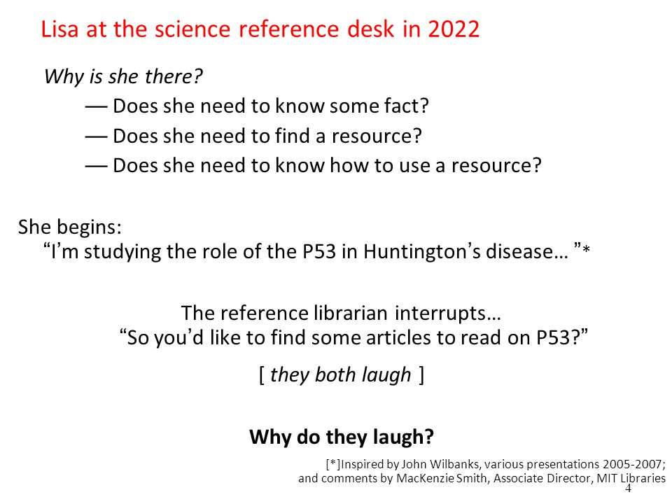 4 Lisa at the science reference desk in 2022 Why is she there.