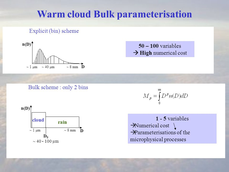 Explicit (bin) scheme 50 – 100 variables  High numerical cost Bulk scheme : only 2 bins cloud rain D 0 ~ 40 - 100 µm 1 - 5 variables  Numerical cost  Parameterisations of the microphysical processes D ~ 40 µm n(D) ~ 1 µm~ 8 mm D n(D) ~ 1 µm~ 8 mm Warm cloud Bulk parameterisation