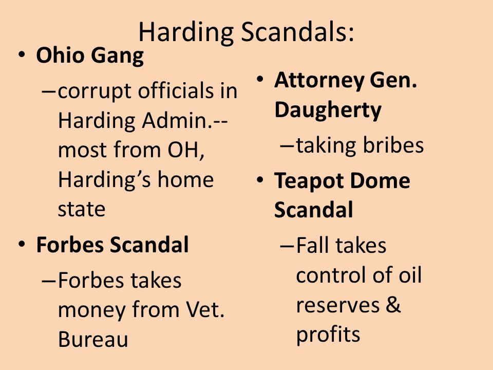 Harding Administration Positive effects: – Economic growth Boom in industry Cut gov.