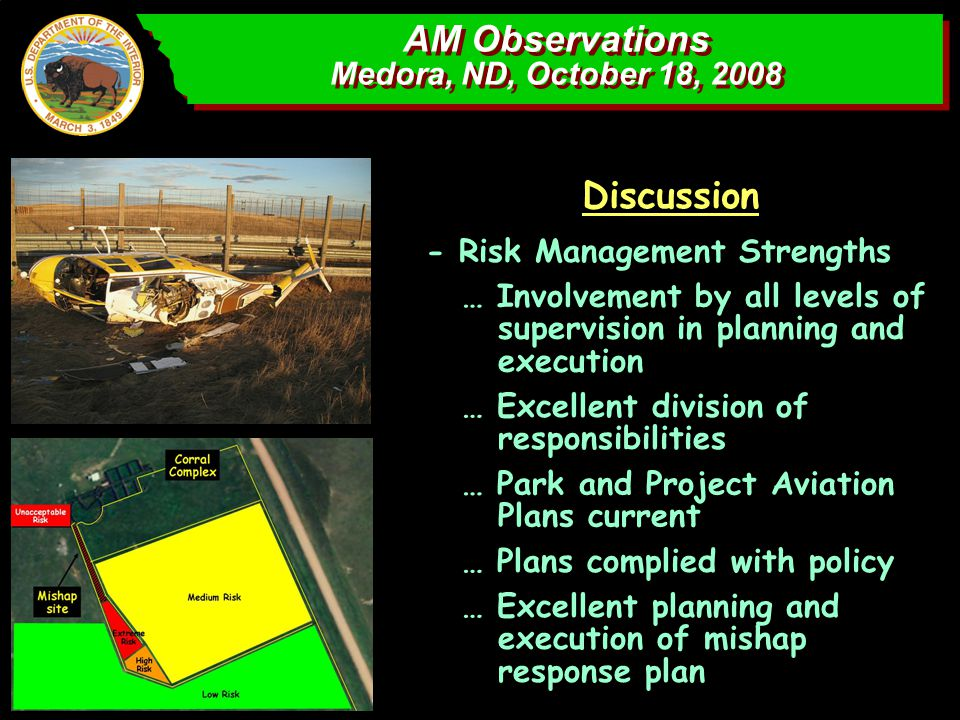 AM Observations Medora, ND, October 18, 2008 AM Observations Medora, ND, October 18, 2008 Discussion - Risk Management Strengths … Involvement by all