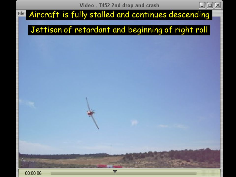 Aircraft is fully stalled and continues descending Jettison of retardant and beginning of right roll