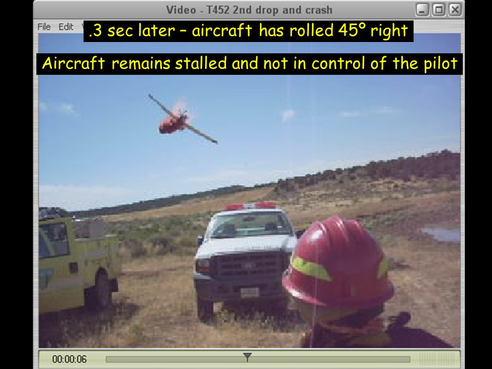 .3 sec later – aircraft has rolled 45º right Aircraft remains stalled and not in control of the pilot