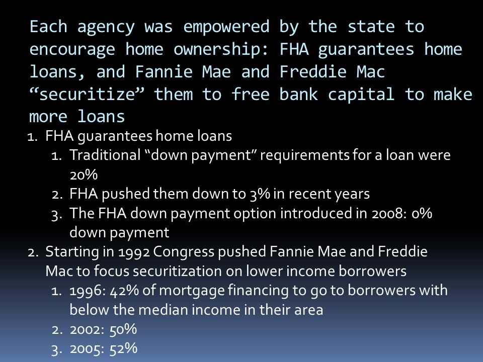 Each agency was empowered by the state to encourage home ownership: FHA guarantees home loans, and Fannie Mae and Freddie Mac securitize them to free bank capital to make more loans 1.FHA guarantees home loans 1.Traditional down payment requirements for a loan were 20% 2.FHA pushed them down to 3% in recent years 3.The FHA down payment option introduced in 2008: 0% down payment 2.Starting in 1992 Congress pushed Fannie Mae and Freddie Mac to focus securitization on lower income borrowers 1.1996: 42% of mortgage financing to go to borrowers with below the median income in their area 2.2002: 50% 3.2005: 52%