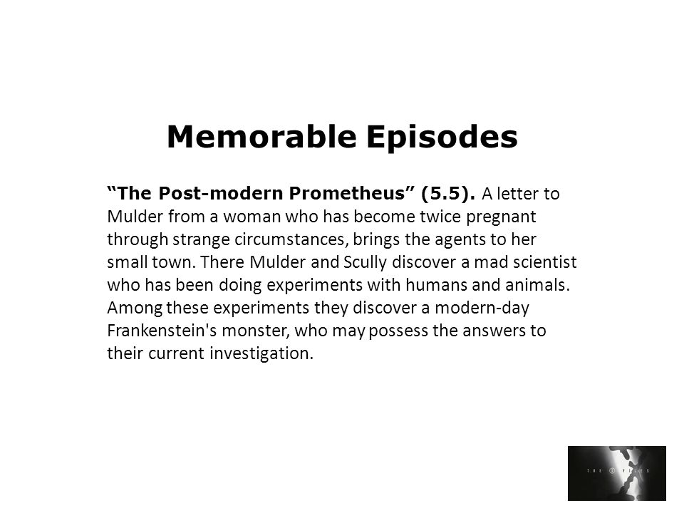 Memorable Episodes The Post-modern Prometheus (5.5).