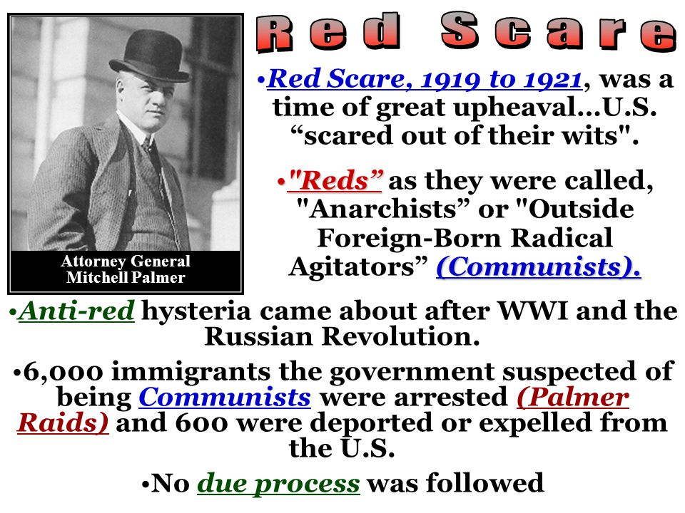 Red Scare, 1919 to 1921, was a time of great upheaval…U.S.