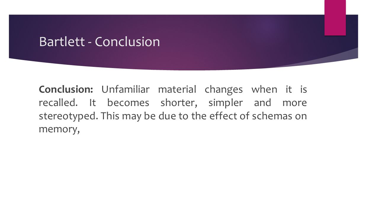 Bartlett - Conclusion Conclusion: Unfamiliar material changes when it is recalled.