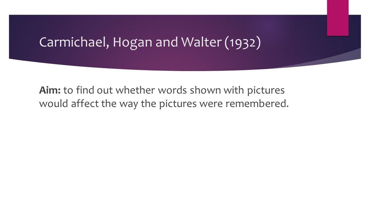 Aim: to find out whether words shown with pictures would affect the way the pictures were remembered.
