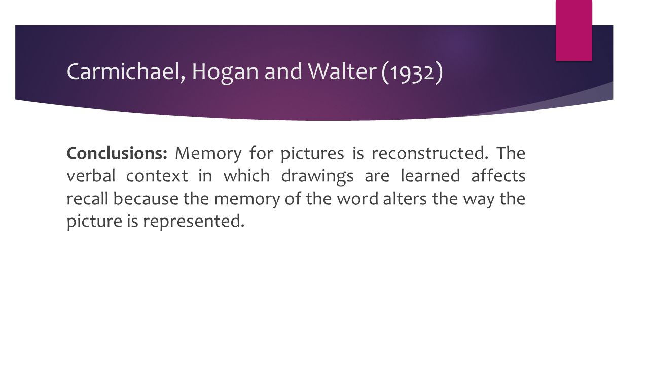 Carmichael, Hogan and Walter (1932) Conclusions: Memory for pictures is reconstructed.