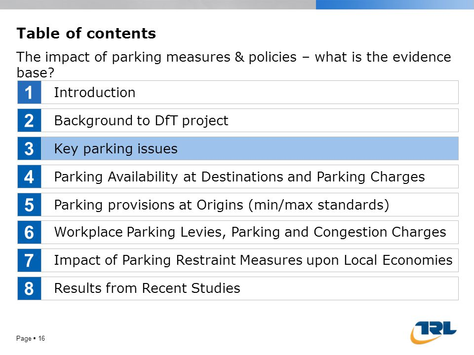 Page  16 Table of contents The impact of parking measures & policies – what is the evidence base? Introduction Background to DfT project Key parking